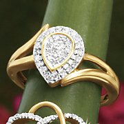 postpaid diamond pear cluster ring
