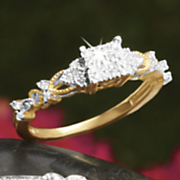 postpaid diamond square cluster ring