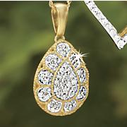 postpaid diamond pear cluster pendant