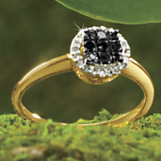 postpaid black diamond round cluster ring