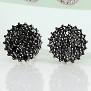 black diamond round cluster post earrings