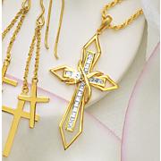 crystal cross frame pendant