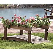 decorative garden bridge with planters 2