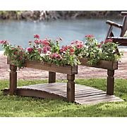 decorative garden bridge with planters 2