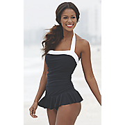 colorblock halter skirted 1 piece