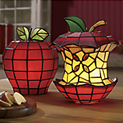 stainglass eaten apple lamp