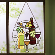 stained glass wine hanging panel