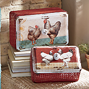 set of 2 rooster storage boxes