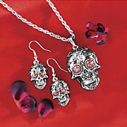 skulls necklace and earring set