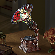 Stained Glass Gramophone Lamp