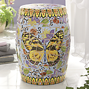 scratched glaze butterfly ceramic stool