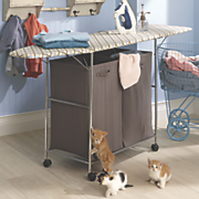 laundry ironing board with hamper