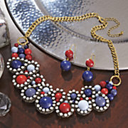 swirl bead wrapped necklace and earrings set