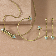 gemstone necklace  cuff and earrings set