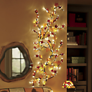 large lighted vine with trailing autumn leaves