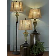 3 piece green ceramic lamp set