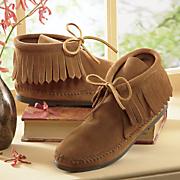 classic fringe boot by minnetonka