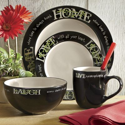 16-Piece Live Laugh Love Home Dinnerware Set