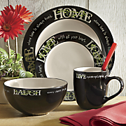 16 piece live laugh love home  dinnerware set