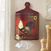 Red Rooster Plastic Bag Holder