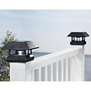 set of 2 solar deck post cap lights