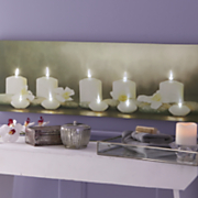 candle canvas art with light