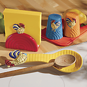 4 piece colorful rooster stovetop set