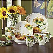 16 piece prairie gold dinnerware set