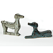 set of 2 foxhound statuettes