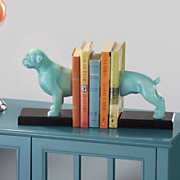 blue boxer dog bookends