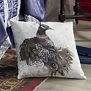 glitterati peacock pillow