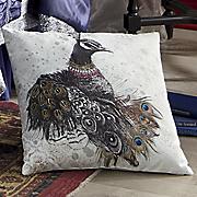 glitterati peacock pillow
