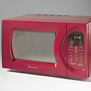 red microwave by magic chef