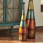 Short Multicolor Striped Vase