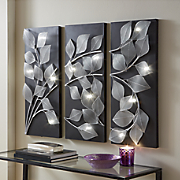 3-Piece Lit Leaves Wall Art
