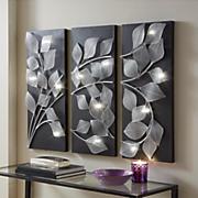 3 piece lit leaves wall art