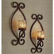Set of 2 Rustic Wall Sconces