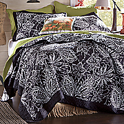 Black Floral Quilt and Sham