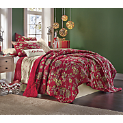 Red Floral Cotton Quilt and Sham