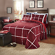 Celebration Squares Chenille Bedspread and Sham