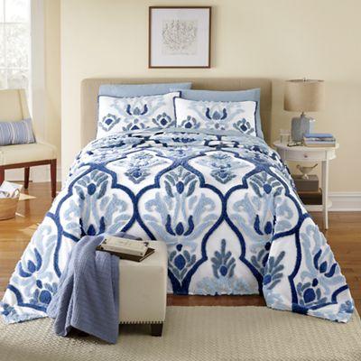Indigo Chenille Bedspread and Sham