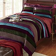 Regal Velvet Stripe Quilt and Sham