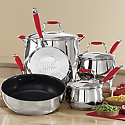 chef tested 8 pc  stainless steel cookware set with silicone handles by montgomery ward