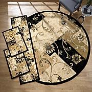 4 pc  flower panel rug set