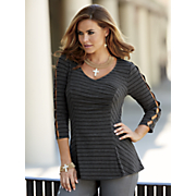 Button 3/4-Length Sleeve Striped Top