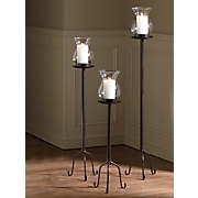 set of 3 hurricane candle lamps