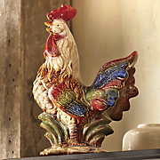 crowing rooster figurine