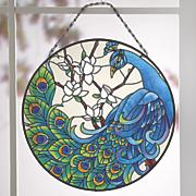 Magnolia Peacock Art Glass Panel