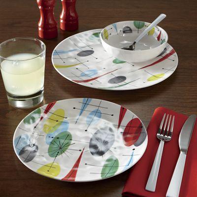 12-Piece Retro Melamine Dinnerware Set