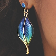 blue green leaf earrings